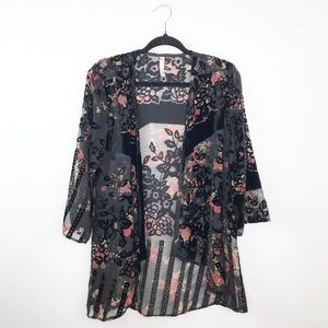 Urban outfitters velvet floral embroidered kimono